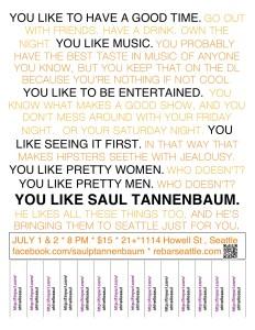 SAUL TANNENBAUM PRESENTS OH HELLO, SEATTLE! - July 2012